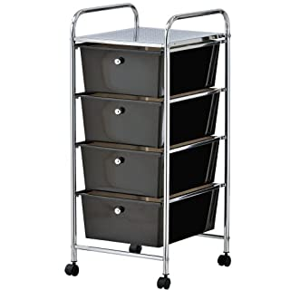 VonHaus 4 Drawer Storage Trolley   for Home Office Stationery and Organisation or Salon, Make-up, Hairdressing & Beauty Accessories   Mobile Design with 4 Tier Shelving and Castor Wheels   Black