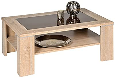 Alfa-Tische Santos M2263 Coffee Table 100 x 65 cm Imitation Sonoma Oak with Brown Glass Insert with Shelf