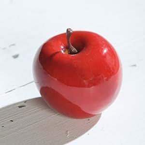 Artificielles - Pomme artificielle rouge brillante d7.5 cm superbe en decoration