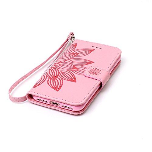 Custodia per Apple iPhone 7, ISAKEN iPhone 7 Flip Cover con Strap, Elegante Sbalzato Embossed Design in Pelle Sintetica Ecopelle PU Case Cover Protettiva Flip Portafoglio Case Cover Protezione Caso co fiori:rosa