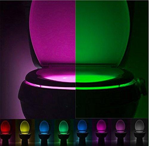 Yowao, luce notturna per WC, attivazione automatica, sensore di movimento della lampada a LED da 8colori che cambiano