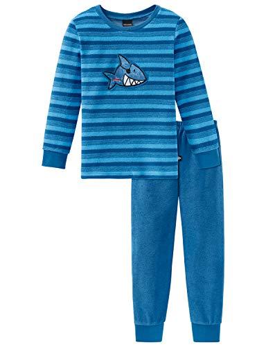 Schiesser Jungen Capt´n Sharky Kn Anzug lang Zweiteiliger Schlafanzug, Blau (Blau 800), (Herstellergröße: 116)