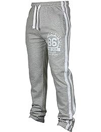 d7f21898a37 Mumustar Mens Sweatpants Open Hem Elasticated Waist Striped Cotton Gym  Fitness Walk Running Sports Trousers Sportwear Tracksuit Bottoms…