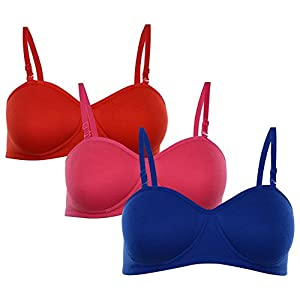 Softskin Padded Non-wired Demi-cup T-shirt Bra (Pack of 3)(32B)