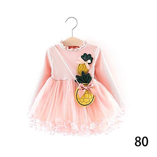DRAULIC Princess Dress Baby Mädchen Kleid Langarm Herbst Kleidung mit Ananas Form Tasche für 0-36 Monate Baby