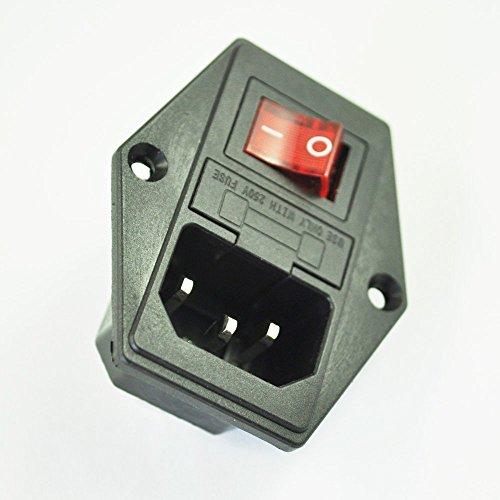 SODIAL(R) 3 broches IEC320 C14 interrupteur fusible & prise d'alimentation 10A 250V module d'extension