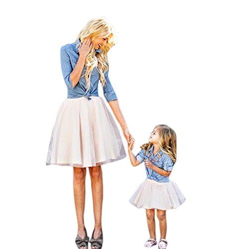Mommy And Me Denim T-Shirt Tops + Rock Kleid Familie Kleidung Outfits Set Kinder Strandkleid Partykleid Mama Ich Frauen Familien Mutter Tochter Baby Outfit Matching Kind Kleider(Blau,S)