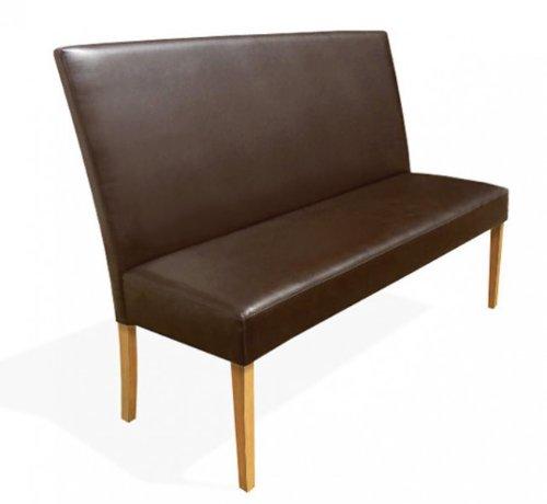 SAM Esszimmer Sitzbank Bari II, 160 cm, in braun mit buche-farbigen Beinen aus Pinien-Holz, Sitzbank mit Rückenlehne aus Samolux-Bezug, angenehmer...