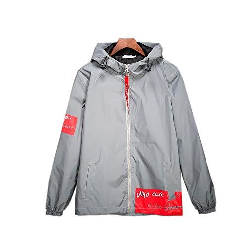Chengzuoqing Reflektierender Mantel Windjacke Fashion Runing Pocket Jacke Lässige Hiphop Night Sporting Mantel mit Kapuze Reflektierende wasserdichte Arbeitskleidung (Color : Gray, Size : XL)