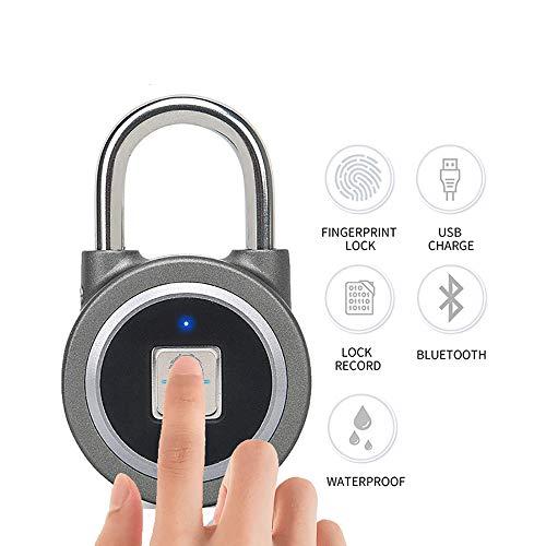 YJJ Fingerabdruck-Vorhängeschloss, Bluetooth-Verschluss Fingerabdruckerkennung Intelligente Keyless-Wasserdichtes Sicherheit Anti-Diebstahl-Vorhängeschloss Für Haus-Tür/Koffer