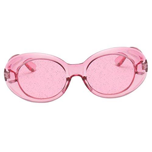 D DOLITY Sonnenbrille Retro Vintage Style Unisex Oval Brille 7 verschiedene Farben wählbar - Rosa Rahmen Pink Lens