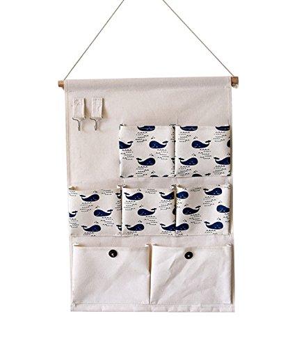 Kimjun Baumwollbeutel Wand hängenden Beutel 7 Tasche Wand Häng Aufbewahrungstasche Hängenden Tasche Organizer Multifunktionale Wohnzimmer Schlafzimmer Utensilo 35*50CM (Wale)