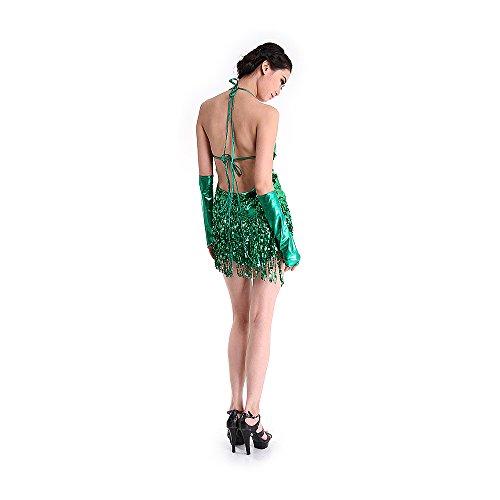 Besmall 20er Jahre Fransenkleid Damen Tanzkleider Salsa Tiered Swing Kleid Samba Rumba Latein (Tanz Kostüm Swing)