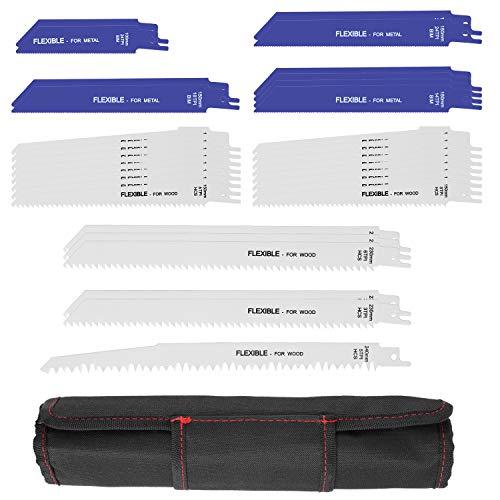 FIXKIT Säbelsägeblatt Set,Sägeblatt für Holz & Metall,32 teilig Säbelsägeblätter mit Handtasche (32 Stück)