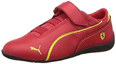 Puma Unisex's Drift Cat 6 L SF V Kids Rosso Corsa and Vibrant Yellow Leather Clogs and Mules - 1 UK