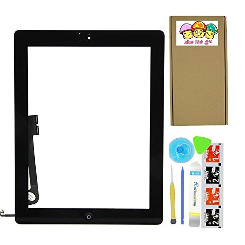 Ipad Digitizer (XIAO MO GU Komplett Touch Screen Digitizer für iPad 4 schwarz Kit Vormontierte Glass + Home-Taste + Home Flex und beiliegende Kontur (Modell A1458, A1459, A1460))
