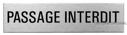 OFFORM Plaque de Porte en Acier INOX brossé, Pictogramme Passage Interdit 160 x 40 mm No.27110