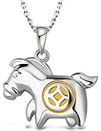 5b442ce73405 Qijavan - Collar con Colgante de Caballo de Caballo con Moneda de Plata 925  bañado en