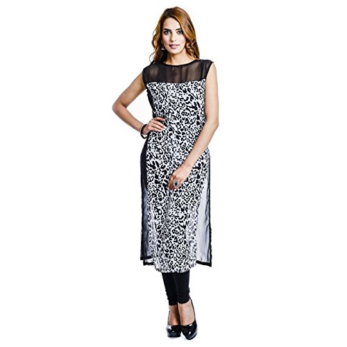 Fusion Multicolor Cap Half Long Short Sleeve sleeveless Kurtis Kaftan for Girls (GT-KRG-BLGT-XXL)