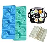 KBstore Cake Pops Silikon Silikonform für Lollis - Blume und Spirale Form für Lutscher Herstellen - Silikon backform für Cake-Pops/Schokoladen/Bonbons/Pralinen/Fondant - Gib 100 Cakepops Sticks