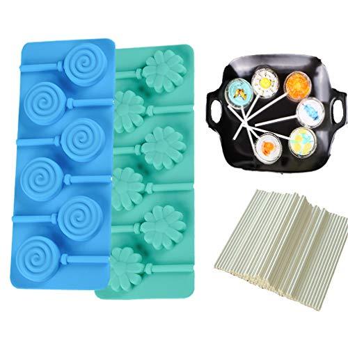 likon Silikonform für Lollis - Blume und Spirale Form für Lutscher Herstellen - Silikon backform für Cake-Pops/Schokoladen/Bonbons/Pralinen/Fondant - Gib 100 Cakepops Sticks ()