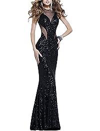 Dolamen Mujer Vestidos, Cuello redondo Vintage y estilo retro, adelgace el vestido sin mangas largo maxi del coctel del ajuste, perfecto para el partido y la boda