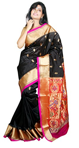 Aruna Fashions Self Design Paithani Art Silk Saree(Black color saree with Rani...