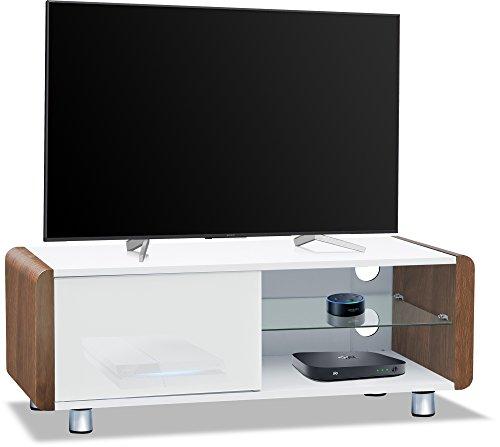 CENTURION Supports Amalfi weiß glänzend beam-thru Fernbedienung Freundlicher 81,3cm-55Flachbild TV-Schrank walnuss (Schrank Für Flachbild-tv)