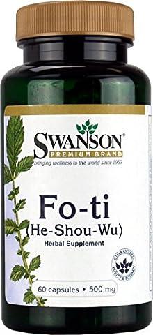 Swanson - Fo-Ti (He Shou Wu) 500mg, 60 gélules - Extrait de Racine Entière 100% Naturel - Plante Médicinale Ayurvédique Traditionnelle - Complément Alimentaire Bio-Actif Ayurvéda en capsules