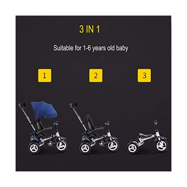 GSDZSY - 3 IN 1 Children Tricycle Foldable,With detachable push rod and awning, Rain and UV protection ,Push rod can control steering, 1-6 years old GSDZSY ❀ Material: High carbon steel + ABS + rubber wheel, suitable for children from 6 months to 6 years old, maximum load 30 kg ❀ Features: The push rod can adjust the height and control direction, the seat can rotate 360; the baby can lie flat, adjustable umbrella, suitable for different weather conditions ❀ Performance: high carbon steel frame, strong and strong bearing capacity; non-inflatable rubber wheel, suitable for all kinds of road conditions, good shock absorption, seat with breathable fabric, baby ride more comfortable 4