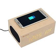 Eachine Altavoz con Bluetooth Amplificador de Altavoz Audio Estéreo de Madera Cargador Inalámbrico de Kit de Reloj,Micrófono Incorporado,Despertador,Termómetro y Grande LED con Fecha y Hora para Mostrar en Home/Office, Samsung S6 Edge, iPhone 6 plus, el Ordenador Portátil/Computadoras de Escritorios.
