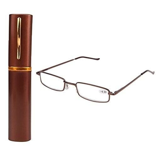 Kalttoy Lesebrille Damen Herren Federscharnier Metall Schmal Klein Mini Leicht Lesehilfe Sehhilfe Klare Arbeit Brillen Stärke mit Etui (Bronze, 2,00)