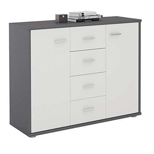 CARO-Möbel Sideboard Jamie Kommode Büromöbel mit 2 Türen und 4 Schubladen in Grau/Weiß