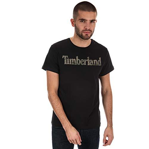 Timberland Herren T Shirt Mens T Shirt Seasonal Logo Crew Neck Tee Black S-XXL New (Large)