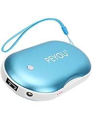 PEYOU Rechargeable Chauffe-Mains, 3 en 1 USB Chaufferette Main électrique 5200mAH Portable Batterie Externe avec Fonction d'éclairage LED pour iphone,Samsung,ipad,etc - Cadeau de Noël Parfait
