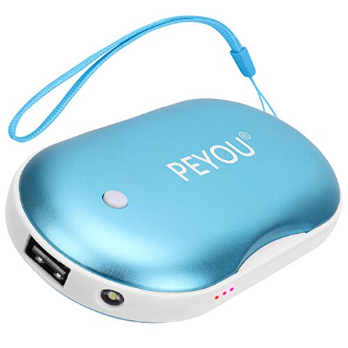 Peyou Calentador de Manos USB Recargable, [3 en 1] Calentadores Reutilizables portátil, 5200mAh Bateria Externa con Luz LED de Emergencia para iPhone/Samsung/Huawei - Regalo para Familia, Amigos