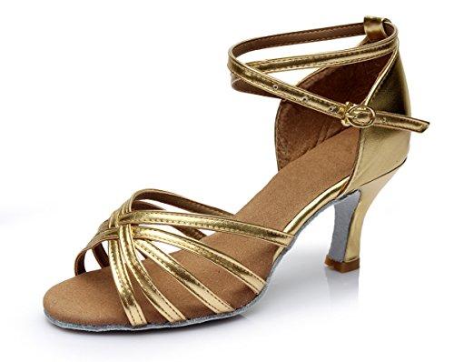 Vesi donna scarpe da ballo latino/sala da ballo/standard tacco 5cm/7cm oro 35
