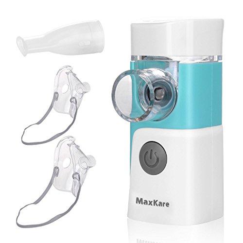 Inhalator Vernebler, Tragbar Inhaliergerät mit Mundstück und Maske, Geräuscharmer Inhalationsgerät mit Schwingmenbaran-Technologie für Kinder und Erwachsene zur Inhalation bei Atemwegserkrankungen