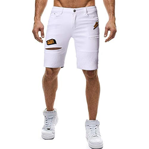 MONDHAUS Herren Jeans Shorts Kurze Hose Denim Bermuda Stretch Capri Basic Blau Grau oder Weiß 5-pocket-classic-capris