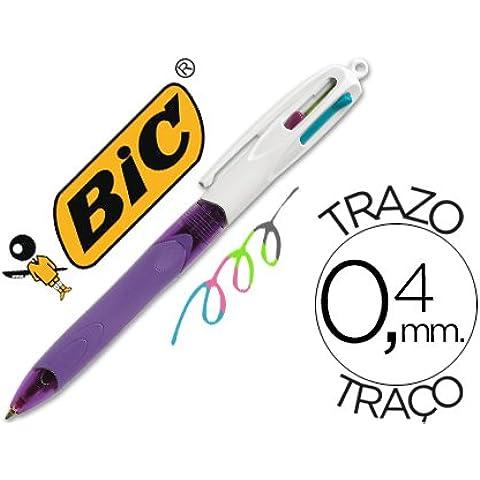 Bic - Boligrafo, cuatro colores con grip, colores pastel, 1.0 mm (caja de 216 unidades)