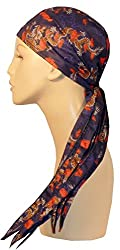 Nomad Skull Cap Biker Style Headwraps Doo Rags - Tossed Red Dragons on Navy