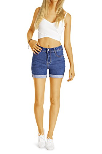 Bestyledberlin Damen High Waist Hot Pants, Denim Shorts, Sommer Jeansshorts j57i Dunkelblau