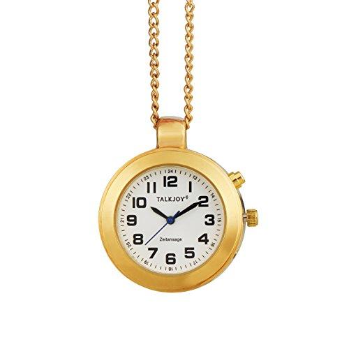 Goldene Sprechende Uhr Anhänger Umhängeuhr Goldkette Zeitansage Damen Taschenuhr Seniorenuhr Blindenuhr