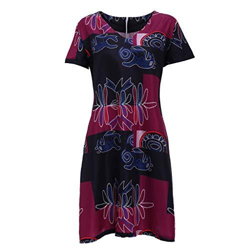 Damen Sommer ärmellose Strandkleider, Vintage O Hals Print T-Shirt Sommerkleider lose Boho A Linie Party Mini Kleid Zurück Reißverschluss Seite Zwei Tasche (Rot, S)