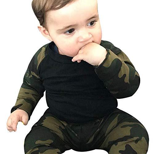Jaysis 2 PCs Bekleidungssets Sweatshirts + Hosen Baby Mädchen Jungen T-Shirt Tarnung Pullover Lange Hülse Klag Sport, Jacken Bluse Nachtwäsche Warm 0-3 Jahre - Herzförmiger Kurzarm-pullover