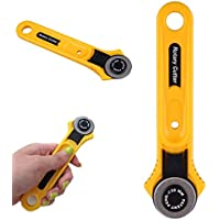Qewmsg Rodillo adulto amarillo Cuchilla círculo de tela de corte redondo de corte de 28 mm de acero inoxidable acolchar Accesorios para herramientas