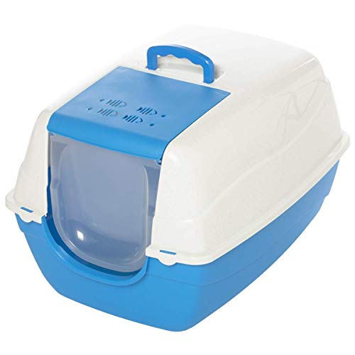 HYLH  Luxury Litter Boxes, Large Front Flap Cat Litter Tray, Antibacterial, Durable, Easy to Clean, Cat Toilet (Color : Blue) Easy Tray