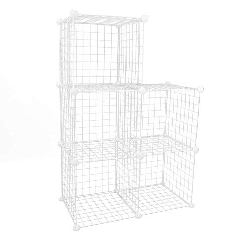 PrimeMatik - Armario Organizador Modular Estanterías de 5 Cubos de 35x35cm Metal Blanco