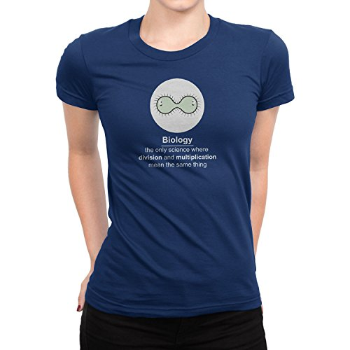 Planet Nerd - Biology The only Science where division and multiplication mean the same thing - Damen T-Shirt, Größe M, dunkelblau (T-shirt Top Division Blaues)