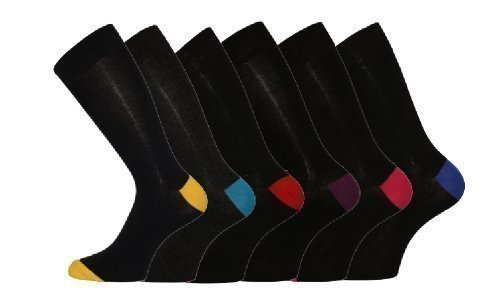 6 Pk Mens Pierre Calvini Cotton Contrast Heel Sock